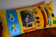 Alzheimer's/Dementia Yellow Activity Picture by MemoryLaneSewing, $45.00.  Personalize it by inserting pictures of grandkids, pets or other loved ones!  By Memory Lane Sewing.