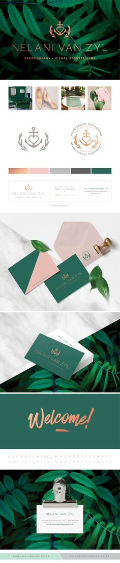 Professional, Sophisticated, Clean, Minimalist Branding for Nelani van Zyl Photography.  Emerald Green. Blush Pink. Rose Gold. Corporate Identity. Brand. Logo. Business Card. Thank you note. Anchor. Olive branch. Feminine. Icon. Nautical.
