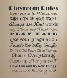 For the Home Playroom Rules Vinyl Wall Decal by ACDecalDesigns Playroom Rules, Playroom Ideas, Home Daycare, Daycare Ideas, Toy Rooms, Wall Quotes, Vinyl Wall Decals, Cheap Home Decor, Kids Playing