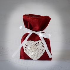 SET OF 25 Rustic Wine-red  Wedding Favor Bag or Gift Bag 3x5 inches with crochet heart. $50.00, via Etsy.