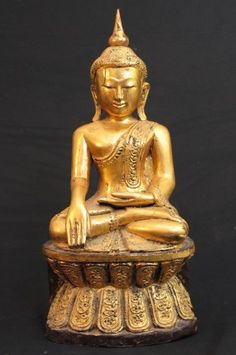 Old Burmese Buddha  [Material: Wood]  [43 cm high]  [Bhumisparsha Mudra]  [Originating from Burma]    www.burmese-art.com