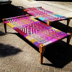 Stunning Indian charpoy handwoven using upcycled saree material #Furniture #upcycled #recycled #original #rustic #vintagefurniture #interior #design #Dubai #AbuDhabi #theatticdubai