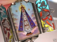 Antique Deco French Plique A Jour Religious Enamel Image Pendant Locket Chapelle