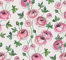 «Painted Pink Ranunculus Pattern» de micklyn