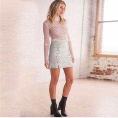 iSHINE Autumn lace up leather suede pencil skirt Winter cross high waist skirt Zipper split bodycon short skirts womens