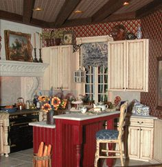 Very realistic mini kitchen Miniature Rooms, Miniature Kitchen, Miniature Houses, Mini Houses, Barbie Kitchen, Red Cottage, Dollhouse Furniture, Dollhouse Interiors, Tuscan Design