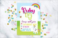 Unicorn Birthday Invitation, Printable invatation, Birthday invitation by JessicaMayCreations on Etsy
