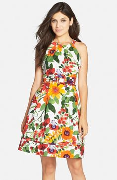 Floral Print Stretch Cotton Fit & Flare Dress