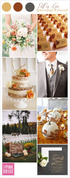 Fall wedding inspiration color board with gold, orange, and charcoal details   The Pink Bride® www.thepinkbride.com