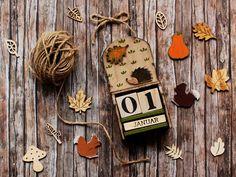 #Woodland perpetual #calendar with #hedgehog by verdesedano_handmade on Depop  #autumn #fall #handmade #unique #oneofakind