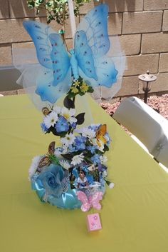 Butterfly centerpiece...all the tables had a different color.