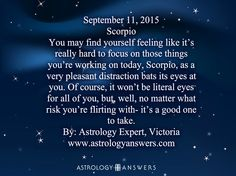 The Astrology Answers Daily Horoscope for September 11, 2015 #astrology