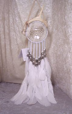 WHITE BUFFALO MOON - ooak Deer Antler Dreamcatcher in White by Feathered Dreams