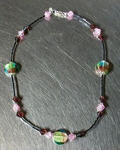 """$39.95. """" Cotton Candy"""". Blue, purple and black glass beaded necklace. Sterling silver accents, lobster clasp, and SUZI tag. 18""""L"""