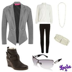 jacquered jacket cream blouse and wedge boots, comfy and sty-LISH