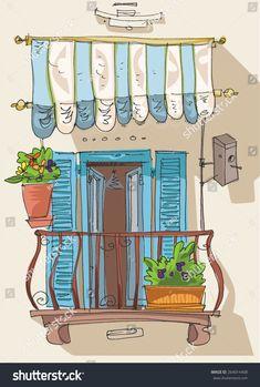 cute balcony - cartoon Balcony, Buildings, Cartoon, Comics, Cute, Image, Kawaii, Balconies, Cartoons
