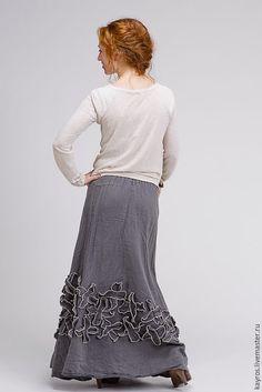 Купить Бохо юбка 5/4 цвет графит - темно-серый, графит, бохо, бохо-стиль