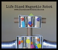 Life-Sized Magnetic Robot that doubles as a portable, free-standing magnet board! | Fun at Home with Kids