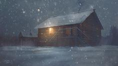illustration, winter, зима, снег, ночь, окно, свет, дерево, тепло, уют