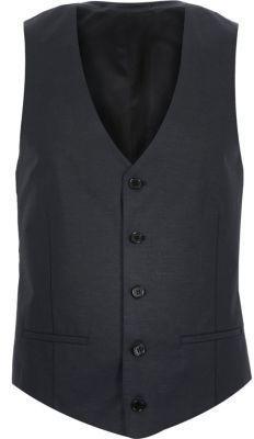 55e76f1aec2 River Island Mens Navy linen-blend suit vest