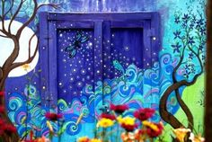 Image result for murals on a shed Backyard Fences, Garden Fencing, Garden Landscaping, Garden Mural, School Murals, Fence Painting, Mural Painting, Painted Fences, Painted Shed