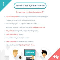 Answers for job interviews tell me about yourselfhttp://www.myenglishteacher.eu/blog/questions-and-answers-to-prepare-you-for-a-job-interview-in-english/