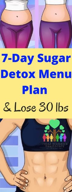 Sugar Detox Menu Plan and Lose 30 lbs - Total Womens Healthcare - Diet Plan Menu - 7 Day Sugar Detox, Sugar Detox Plan, Detox Diet Plan, Cleanse Detox, Stomach Cleanse, Health Cleanse, Body Cleanse, Health Diet, Full Body Detox