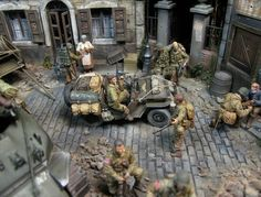 American airborne troops in Normandy village