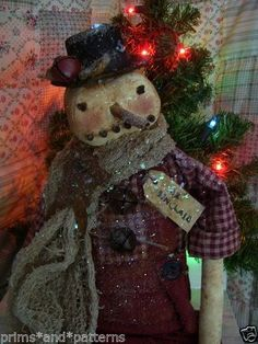 "PRIMITIVE SNOWMAN ""OLDE MR SINCLAIR""~24in~ #NaivePrimitive #primsandpatterns"