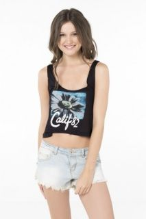 CALIF CROP TOP   50% OFF Regular Price: $12.50 If the sun is shining, it's time for tanks! Be ready to feel the heat in the cutest tanks around! Scoopneck. Cropped. Viscose.  T-SHIRT «CALIF»   50% OFF Prix Régulier: 12.50 $ Si le soleil brille, c'est l'heure des camisoles! Apprête-toi pour la chaleur avec les plus jolies camis! Col rond. Écourté. Viscose.  QUANTITY LIMITED - QUANTITÉ LIMITÉ