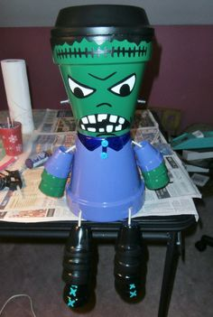 My Frankenstein I made for Halloween out of flower pots 10/11/13.
