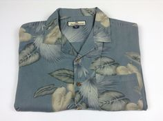Tommy Bahama Men's Short Sleeve Button Up Silk Shirt L Large Hawaiian Floral #TommyBahama #ButtonFront