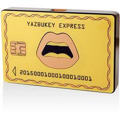 """Yazbukey Le """"Yazbukey Express"""" Plexiglass Clutch (12.097.345 IDR) ❤ liked on Polyvore featuring bags, handbags, clutches, lucite handbag, yazbukey, beige purse, acrylic purse and lips handbag"""