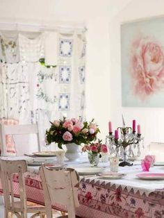 "~ pretty dining room from Selina Lake's book ""Romantic Style"" I like the curtains and the art on the wall"