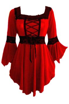 Plus Size Red and Black Renaissance Lacing up Corset Top [FC05RB] - $41.99 : Mystic Crypt, the most unique, hard to find items at ghoulishly great prices!