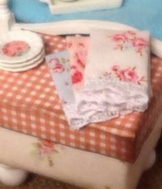 Dollhouse Miniature Shabby style towels by RibbonwoodCottage, $6.50