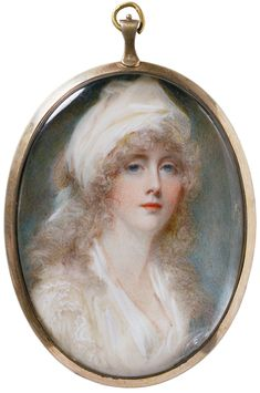 Anna Mee, born Foldsone (about 1771-1851)  Self-portrait  About 1795  Watercolour on ivory
