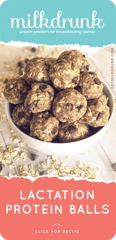 One of our fave recipes, these little balls pack a punch of lactation goodness. They freeze well and are insanely easy to snack on during a breastfeeding session. Also, they're difficult to accidentally drop on baby's head! (No judgment if that's happened before!) ingredients - 1 1/2 c rolled oats - 1/2 c Milk Drunk pr Milk Recipes, Dairy Free Recipes, Baby Food Recipes, Whole Food Recipes, Snack Recipes, Lactation Balls Recipe, Lactation Recipes, Lactation Foods, Protein Ball