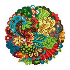 Ethnic doodle floral zentangle like circle pattern Premium Vector Mandala Artwork, Mandala Painting, Mandala Drawing, Oil Painting App, Circle Pattern, Pattern Flower, Mandala Coloring Pages, Geometric Background, Vector Background