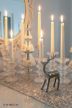 White and silver Christmas. Candles