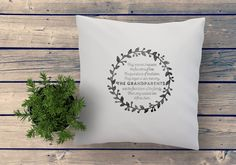 Handprinted Quote pillow with a message that shows your love and apreciation for your parents, grandparents and family. Original gift that can be personalized with names..., for Grand parents day, Mothers day, Fathers day, Birthdays, Christmas ... designed and hand printed by My Home and Yours. Worldwide shipping! Quote Pillow, Unique Gifts, Handmade Gifts, Fabric Art, Grandparents, Fathers Day, Mothers, Birthdays, Names