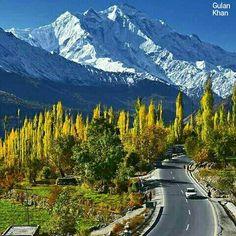 Fantastic beauty of Karakoram highway & mountains Hunza valley Gilgit Baltistan Pakistan
