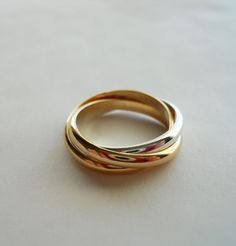 2.5mm Rolling Trio Trinity Ring 14K Gold Filled 925 Sterling Silver Mix.