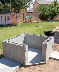 They stack cinder blocks in their backyard