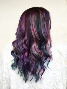 Hair Dye Colors, Ombre Hair Color, Cool Hair Color, Purple Balayage, Balayage Hair Blonde, Brown Ombre Hair, Purple Hair, Rainbow Hair, Hair Videos