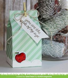 Milk Carton treat/gift boxes using My Silly Valentine stamps and dies for NON-Valentine themed gift boxes! #lawnfawn #milkcarton #mysillyvalentine #stitchedlabels #scallopedborders