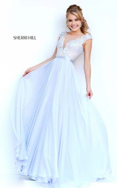 Lace Classy 2015 Prom Dress Silver Sherri Hill 11269