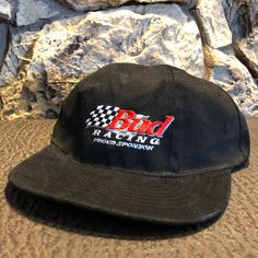 55eedac4cac77f Budweiser Beer Racing hat Original vintage 90s hat dad hat strap back  Motorsports Bud hat