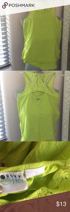 Roxy girls tank top Roxy girls size 12 lime/ neon green cotton tank with lace detail/razorback on the back and front lace detail. Originally purchased at Nordstrom to go with other roxy shorts that are listed on my site, perfect condition, non-smoking home, no lowball offers or trades please! Roxy Shirts & Tops Tank Tops