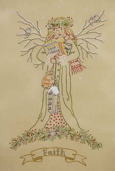 "Angel of Winter - ""Faith"" - hand embroidery pattern at Crabapple Hill Studio"